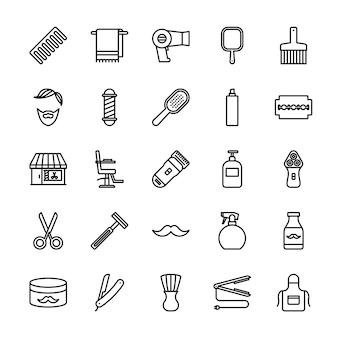 Conjunto de ícones de contorno de barbearia