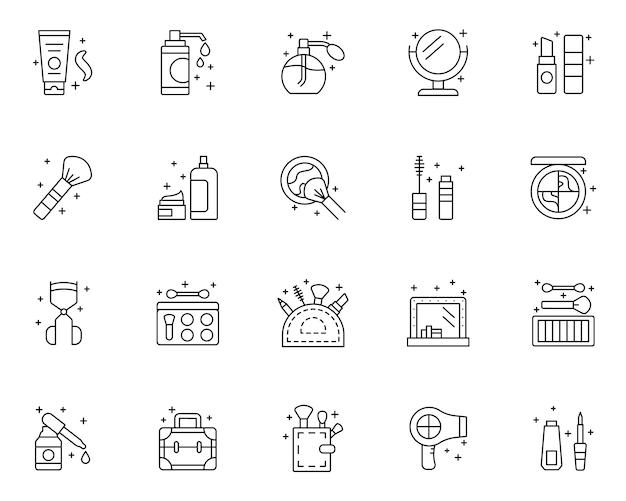 Conjunto de ícones de contorno de beleza