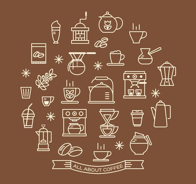 Conjunto de ícones de contorno de café