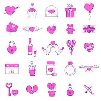 Conjunto de ícones de contorno de casamento