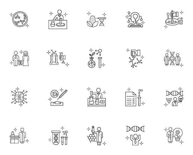 Conjunto de ícones de contorno de ciência do dna