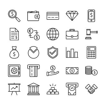 Conjunto de ícones de contorno de finanças