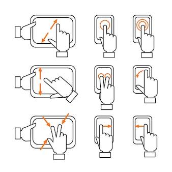 Conjunto de ícones de contorno de gestos de smartphone