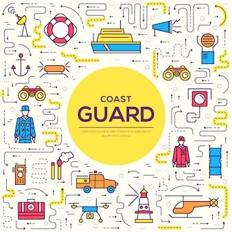 Conjunto de ícones de contorno de ilustração do dia da guarda costeira. linha fina protegendo o conceito de elementos de pedido