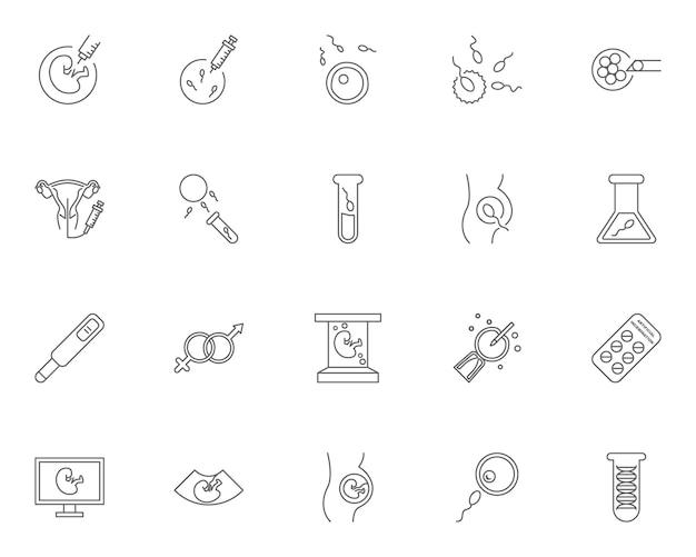 Conjunto de ícones de contorno de inseminação artificial