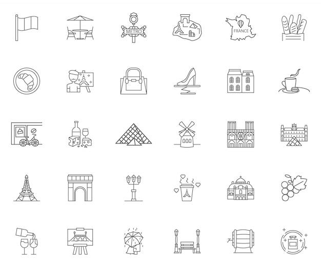 Conjunto de ícones de contorno de paris