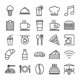 Conjunto de ícones de contorno de restaurante