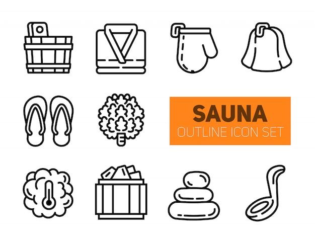 Conjunto de ícones de contorno de sauna e balneário.