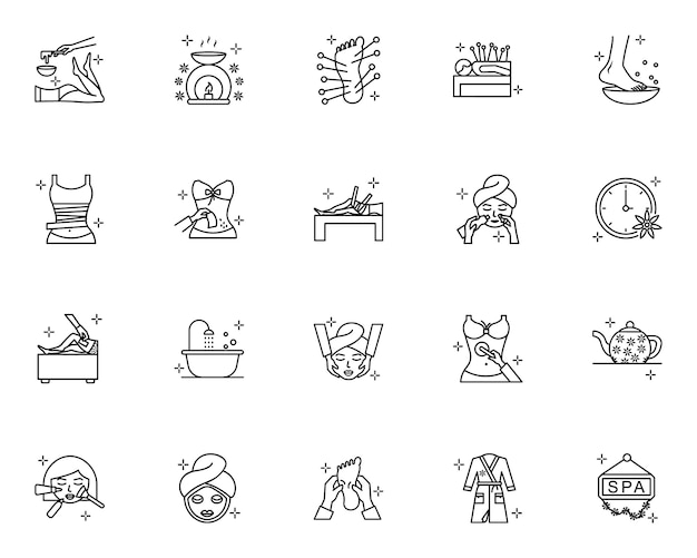 Conjunto de ícones de contorno de spa