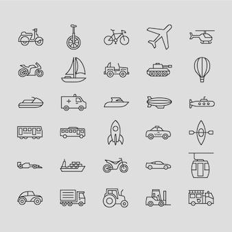 Conjunto de ícones de contorno de transportes
