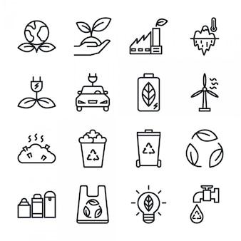 Conjunto de ícones de contorno eco, ícone de reciclagem de energia