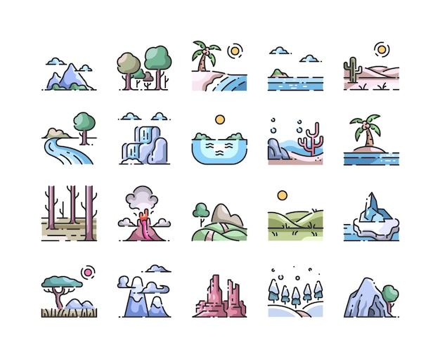 Conjunto de ícones de contorno paisagem cor