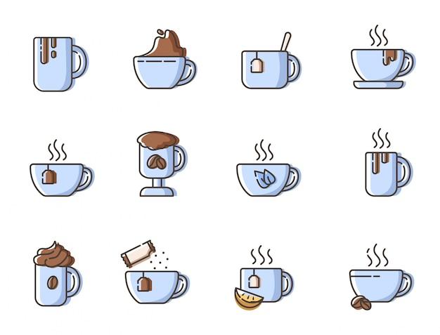 Conjunto de ícones de contorno simples