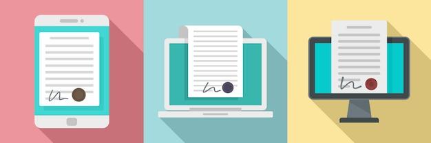 Conjunto de ícones de contrato digital