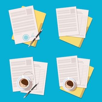 Conjunto de ícones de contrato ou documento