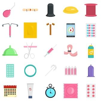 Conjunto de ícones de controle de dia de contracepção