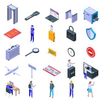 Conjunto de ícones de controle de passaporte, estilo isométrico