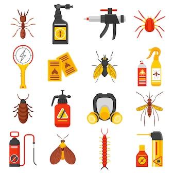 Conjunto de ícones de controle de pragas