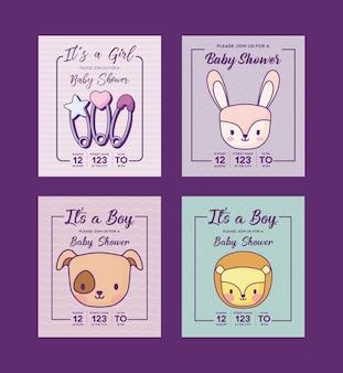 Conjunto de ícones de convites do chuveiro de bebê com animais fofos sobre fundo roxo