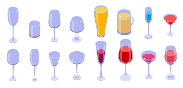 Conjunto de ícones de copo de vinho, estilo isométrico