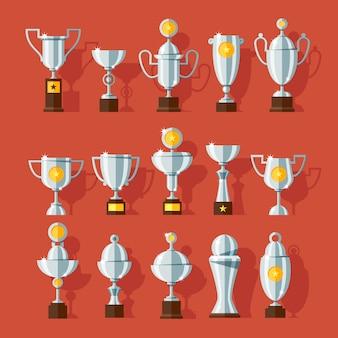 Conjunto de ícones de copos de bronze esporte prêmio em estilo moderno.