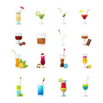 Conjunto de ícones de coquetéis multicoloridos