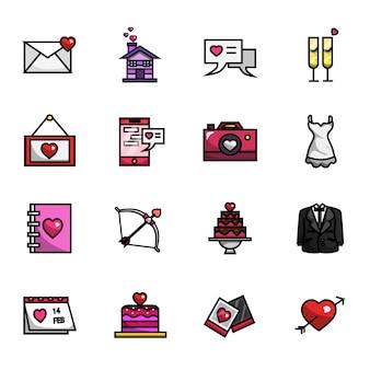 Conjunto de ícones de cor cheia de amor feliz dia dos namorados