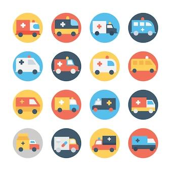 Conjunto de ícones de cor circular de ambulância
