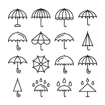 Conjunto de ícones de cor circular de guarda-chuva