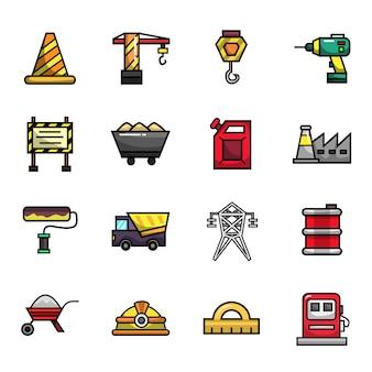 Conjunto de ícones de cor completa de elementos de engenharia de construção