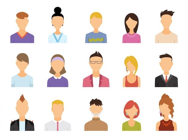 Conjunto de ícones de cor de avatar