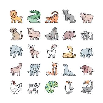 Conjunto de ícones de cor de contorno de vida selvagem