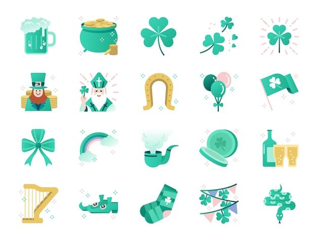 Conjunto de ícones de cor de dia de st patrick.