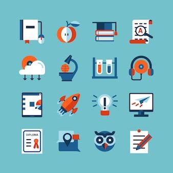 Conjunto de ícones de cor de educação on-line