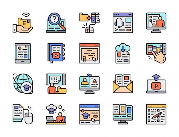 Conjunto de ícones de cor de linha de educação on-line. biblioteca, certificado, podcast e mais