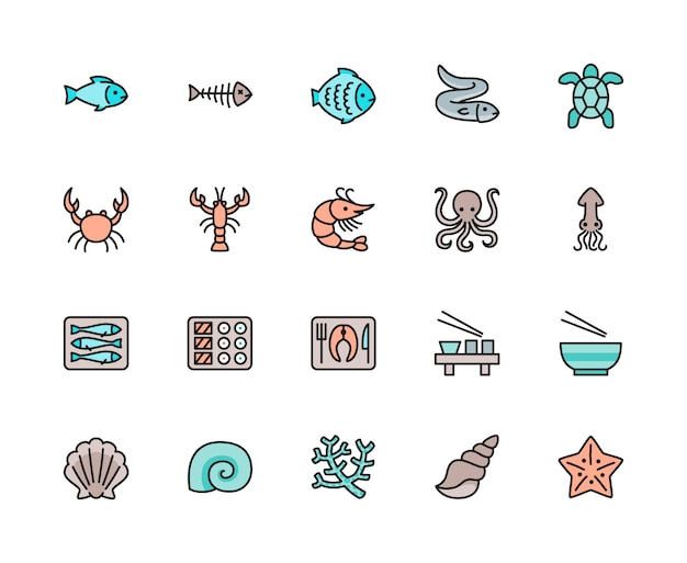 Conjunto de ícones de cor de linha de peixes e frutos do mar. solha, enguia, tartaruga, caranguejo e muito mais.