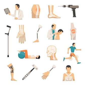 Conjunto de ícones de cor de ortopedia