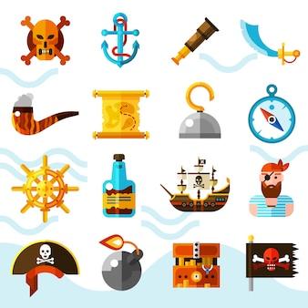 Conjunto de ícones de cor de piratas