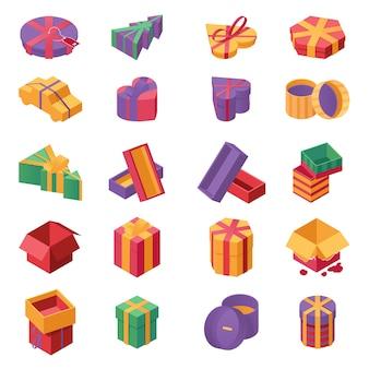 Conjunto de ícones de cor isométrica de caixas de presente