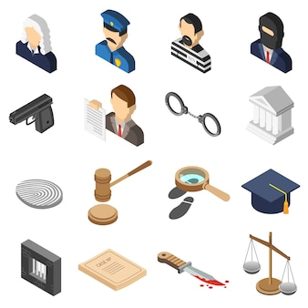 Conjunto de ícones de cor isométrica de justiça