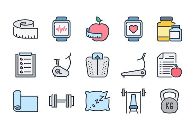 Conjunto de ícones de cor linha de aptidão relacionados.