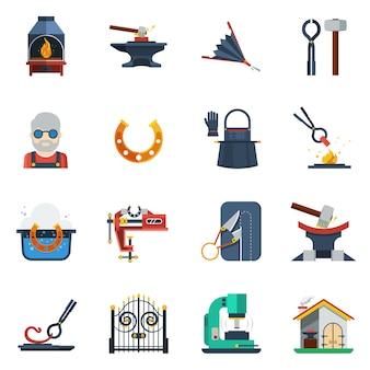 Conjunto de ícones de cor lisa de ferreiro