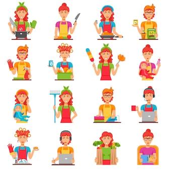 Conjunto de ícones de cor plana de dona de casa