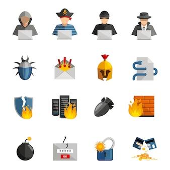 Conjunto de ícones de cor plana de hacker