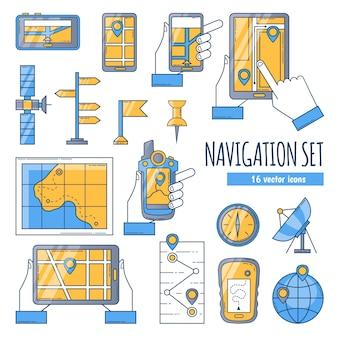 Conjunto de ícones de cor plana de navegação