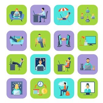 Conjunto de ícones de cor plana freelance
