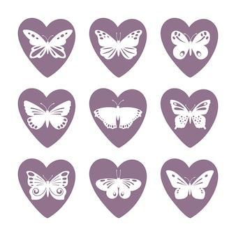Conjunto de ícones de coração com silhuetas de borboleta laço