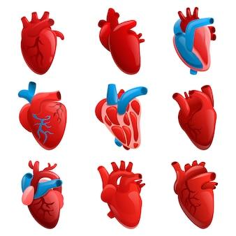 Conjunto de ícones de coração humano, estilo cartoon