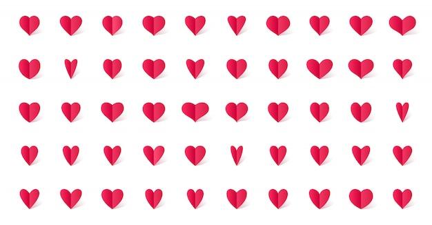 Conjunto de ícones de coração no estilo de arte papel com sombra