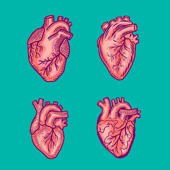 Conjunto de ícones de coração vermelho